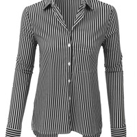 LE3NO Womens Long Sleeve Button Down Striped Shirt with Back Slit (CLEARANCE)