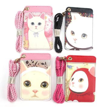 Fashion Cartoon Cat Animals Student Nurse Exihibiton PU ID Name Card Badge Holder Office Supplies for Card Holder