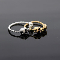 TINY SKULL with GUNSHOT ring/ with twisted band, adjustable (2colors) | girlsluv.it - handmade jewelry collection, ETSY, Artfire, Zibbet, Earrings, Necklace