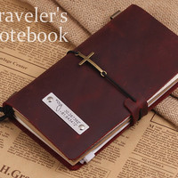 Handmade Traveler's Notebook - Vintage GPS Coordinates Leather Notebook - multi-function Diary