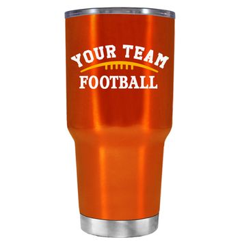 TREK Custom Football Team on Translucent Orange 30 oz Tumbler Cup