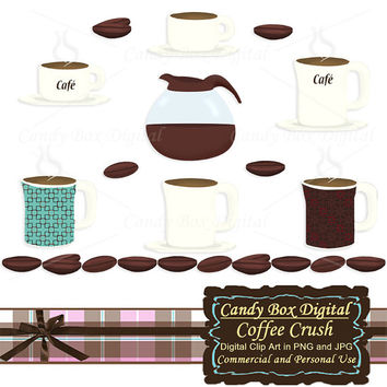 Coffee Clipart, Coffee Clip art, coffee graphics, coffee illustration, coffee pot, coffee border, coffee beans clip art - Commercial Use OK