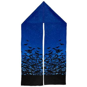 ESBGQ9 Halloween Bats Night Sky Warm Fleece Scarf