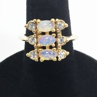 Oval Art Glass Crystal AVON Statement Ring Blue Rhinestone Simulated Opal Cocktail Dinner Ring Valentine's Day Gift for Her Sweet 16