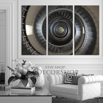 Canvas Print Spiral Staircase 3 Piece Canvas Art Print - Ready to Hang - MC06