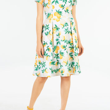 Lemon print crepe fit-and-flare dress