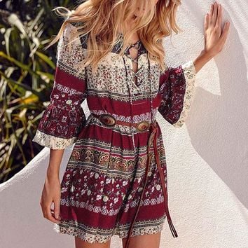 Bohemia flare sleeve floral print mini dress Elegant women summer bandage beach dress Ethnic vintage loose casual dress