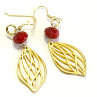 Red Velvet Crystal and gold feather charm Fashion Earrings are the perfect accessory for Prom, Wedding, Christmas, Valentines, or formals