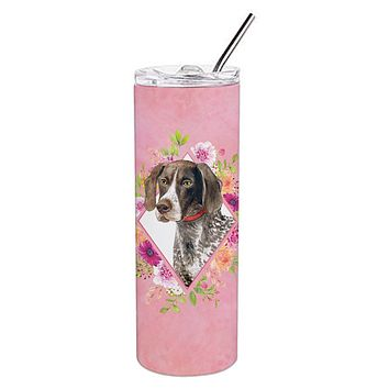 German Shorthaired Pointer Pink Flowers Double Walled Stainless Steel 20 oz Skinny Tumbler CK4157TBL20