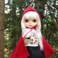 Little Red Riding Hood Blythe Costume with Red Cape, White Blouse, Black Skirt, Apron Doll Clothes