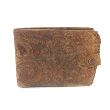 Distressed Vintage Tan Leather Wallet, Heavily Worn, Aged Leather Billfold