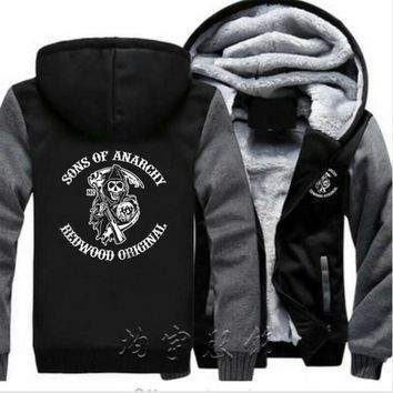 Mens Fashion Plus Velvet Thicken Hooded Sweatshirts Winter Cardigan Jacket Sons Anarchy Samcro Jax Print Hoodies Jacket Coat