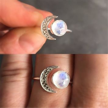 STYLEDOME Exquisite Silver Color Ring White Moonstone Princess Love Band Rings Open Size Adjustable