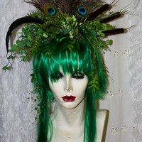 APRIL SALE: Green Peacock Feral Fairy - Full WIG -  Hair Headpiece Costume Faerie world Renaissance Fairy Wedding Burning Man theater