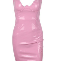 Talia - Faux Latex Bodycon Dress (Pink)