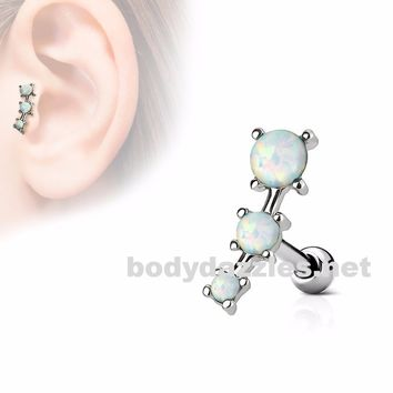 White Triple Opal Prong Set 316L Surgical Steel Tragus/Cartilage Barbell 16g  Upper Ear Jewelry
