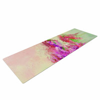 "Ebi Emporium ""When Land Met Sky 3"" Pink Green Yoga Mat"