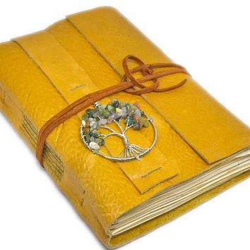 Leather Journal with Tea Stained Paper, Tree of Life, Golden Yellow Diary, Journal, Travel Journal,  Handmade Journal , Ready to Ship