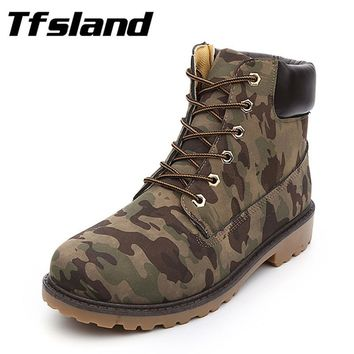 Men Women Winter Suede Leather Camouflage Martin Boots Autumn Tooling Snow Boots Couples Hiking Shoes Soft Sneakers Size 36-46