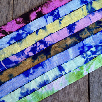 "8 Yards of Tie Dye 5/8"" Fold Over Elastic - 1 Yard of Each Color - FOE Elastic"