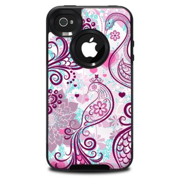 The White and Pink Birds with Floral Pattern Skin for the iPhone 4-4s OtterBox Commuter Case