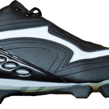 Warrior Burn Mid Moulded Lacrosse Cleats ~ Black / White