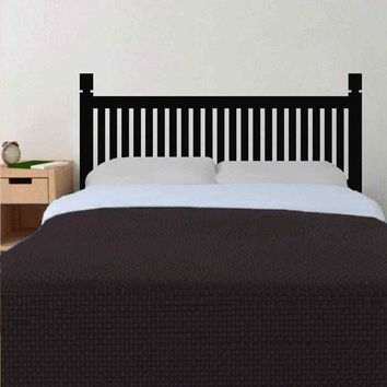 Traditional Headboard Wooden style Bedpost Vinyl Wall Sticker for Twin Full Queen King Bed Decor Dorm Bedroom Home Decortion