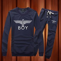 BOY London Woman Men Long Sleeve Shirt Top Tee Pants Trousers Set Two-Piece Sportswear