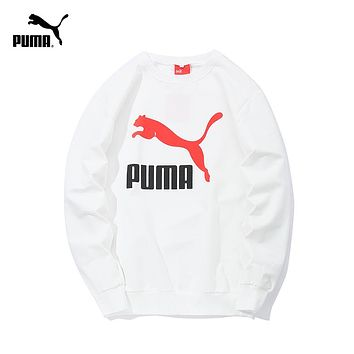 PUMA tide brand men and women classic print logo round neck pullover sweater white