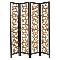 "Hellmuth 88"" Room Screen, Black/Gold, Room Screens"