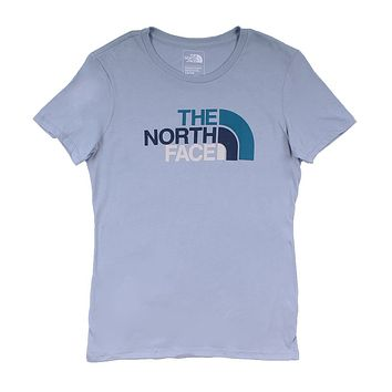 Women's Half Dome Crew in Dusty Blue & Blue Coral Multi by The North Face - FINAL SALE