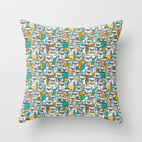 Pug pattern Throw Pillow by Gemma Correll   Society6