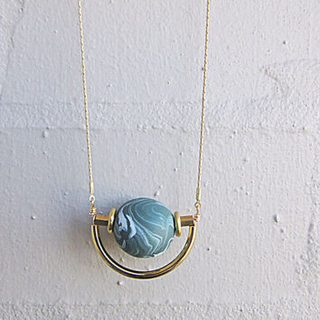 NL-206 Green and White Marble Vein Round Clay Bead with Brass Disc and Tube and Gold Curved Tube Pendant in 16K Gold Plated Brass Chain