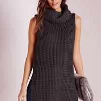 Missguided - Sleeveless Chunky Roll Neck Sweater Grey