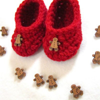Red Baby Shoes with Gingerbread Men, Christmas Baby Slippers by Crocheted by Charlene, Newborn Crochet Shoes