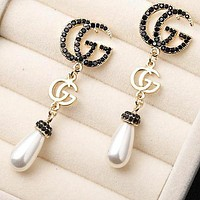 GUCCI 925 Silver Needle Newest Women Black Diamond Pearl Pendant Earrings Accessories Jewelry
