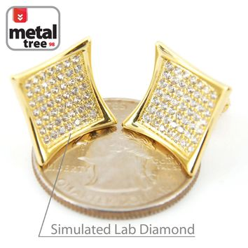 Jewelry Kay style NEW Men's Hip Hop 14k Gold Plated Caved Flat Kite Screw Back Stud Earrings