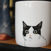 Hand painted animal mug cup - Cute  mug cup -Cat  mug cup