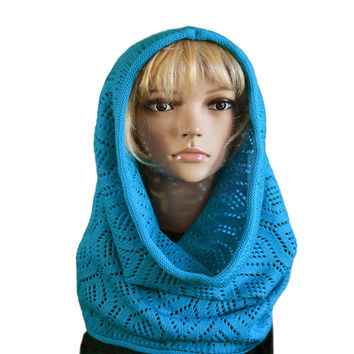 Knit Wool Cowl Scarf - Women's Knitted Hooded Snood