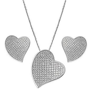 Forever Love Heart Pendant Necklace & Earring Set