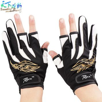 2017 Top Quality Anti Slip Fishing Gloves/Outdoor Sports Slip-resistant 3 Low-Cut Fingers Fishing Gloves Luvas Free Shipping