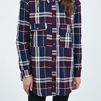 BDG Check Shirt in Deep Plum - Urban Outfitters