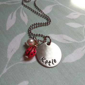 Lady Bug Circle Personalized Name necklace with white pearl bead charm