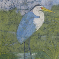Blue Heron Original Watercolor Batik Painting on Japanese Rice Paper,Abstract Batik Art, Blue Heron Art