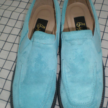 Bijou robin's egg blue, pool blue, suede leather slip on shoes, slip on mules, ladies size 8 1/2, women's 8 1/2, loafers, aqua.