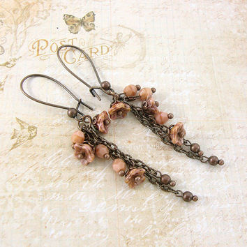Flower and Chain Dangle Earrings - Rustic Shabby Flower Earrings - Rustic Wedding Bridesmaids Gifts For Her Dusty Pink Copper Jewelry