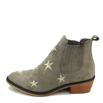 """Tetsu"" Star Embroidered Cowboy Ankle Boots - Gray"
