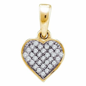 10kt Yellow Gold Women's Round Diamond Small Dainty Heart Love Pendant 1-10 Cttw - FREE Shipping (US/CAN)