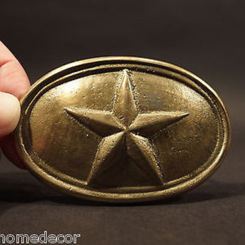 Antique Style Civil War Confederate Texas Star Belt Buckle Plate SOLID Brass
