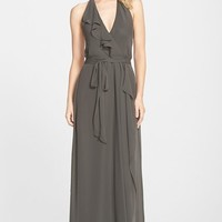 Women's nouvelle AMSALE Long Chiffon Wrap Dress